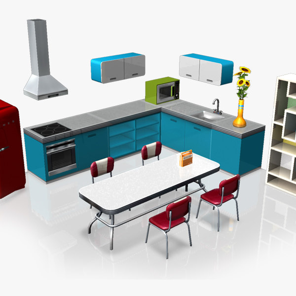 3d kitchen retro