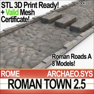 ancient roman town roads 3d 3ds