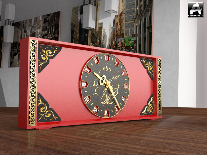3ds max red clock carvings