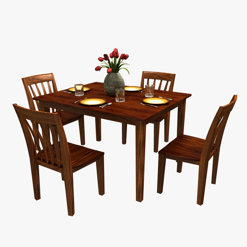 3d traditional dinner table chairs model