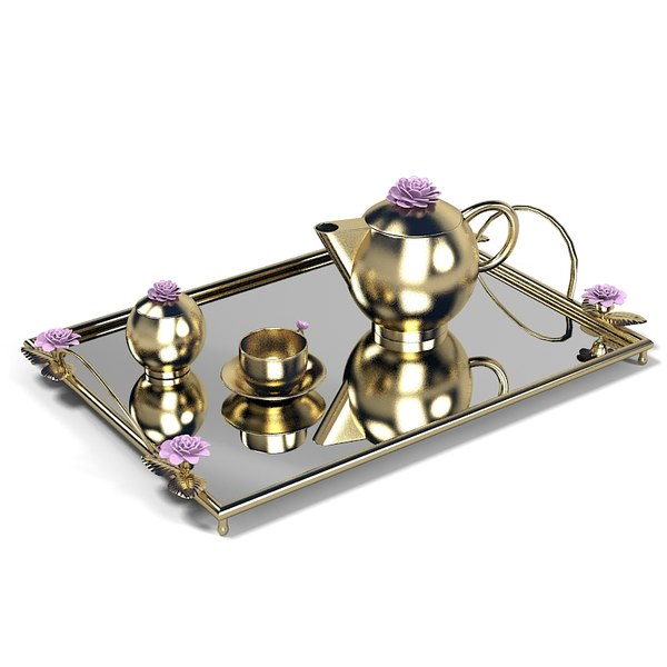 3d elegant golden tray