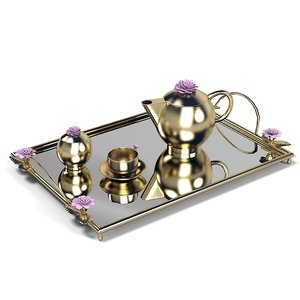 3d elegant golden tray