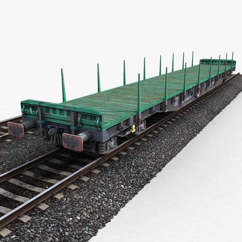 3d flat wagon railway tracks