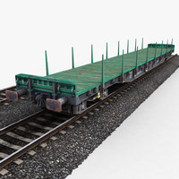 3d flat wagon railway tracks