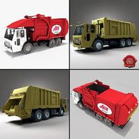 3d model garbage trucks