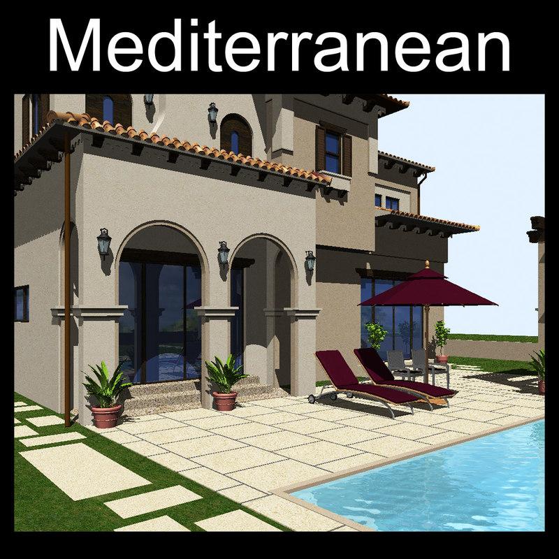 3d house mediterranean model