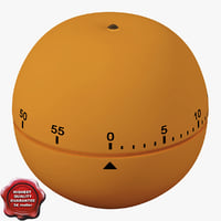 3d kitchen timer orange model
