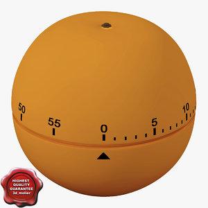 3d kitchen timer orange model