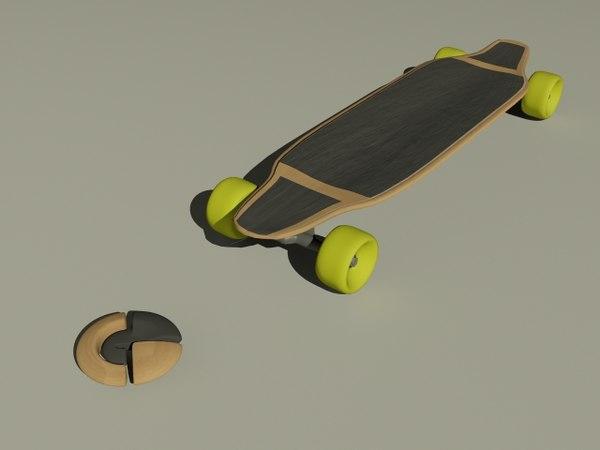 3d longboard long board model