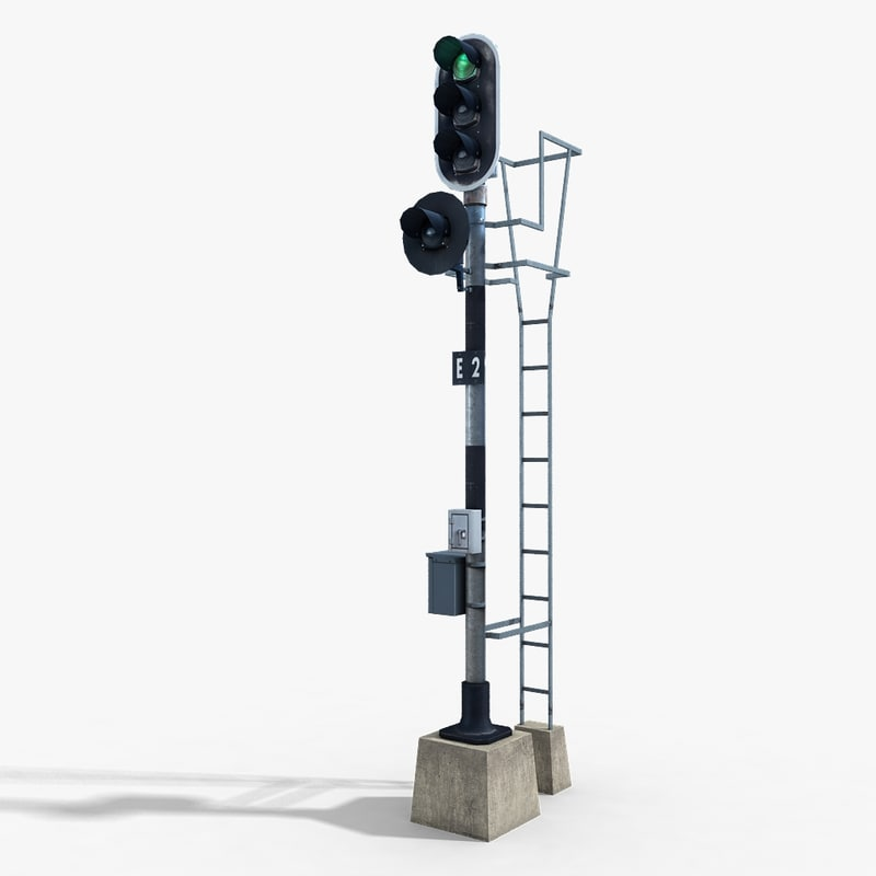 3d railway traffic light model