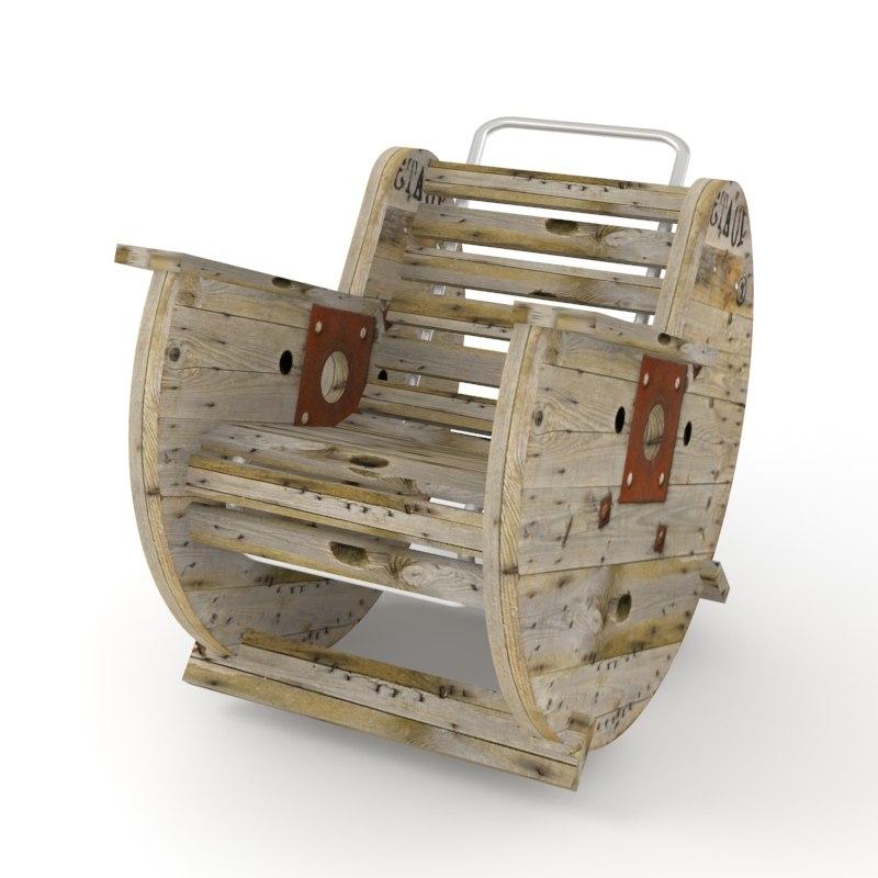 3d model reel rocking chair