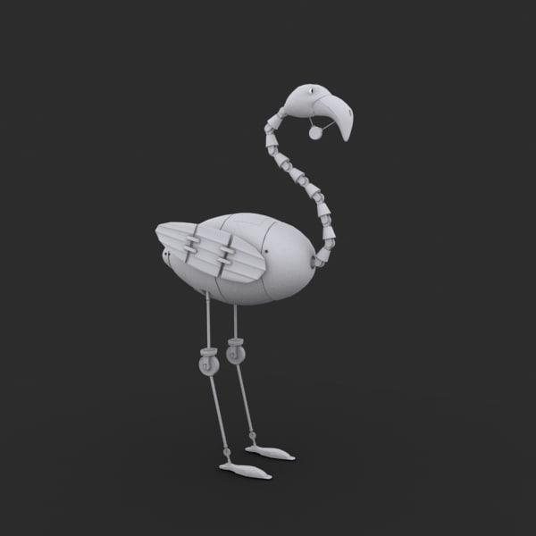 3d model robot bird character