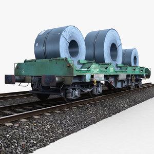 steel coil wagon 1 3d model