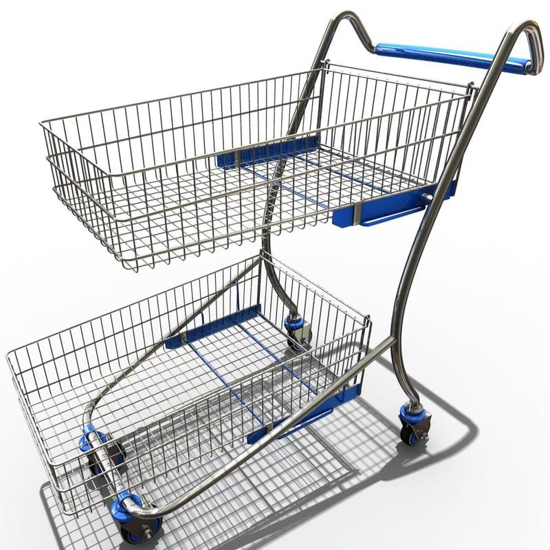 3d model supermarket trolley v3