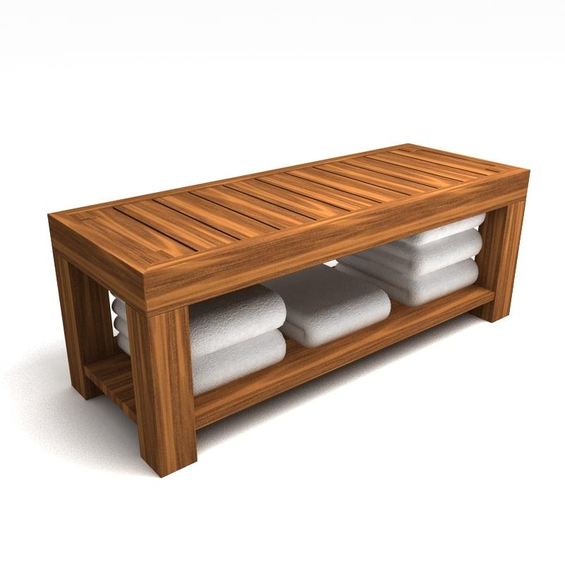wood bench 3d max