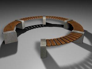3d model parks bench