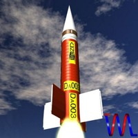 3d model french dauphin rocket sounding