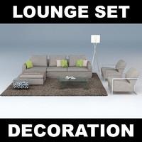 3d model of set sofa blanket