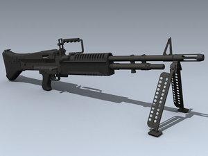 3d model army m60 machine gun