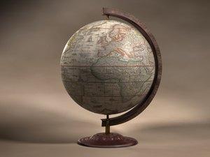 3d vintage globe model