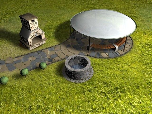 scene patio fireplace 3d model