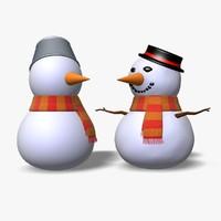 3d model snowmen icon statue