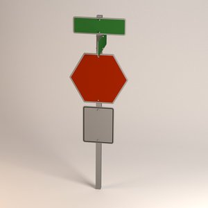 traffic sign 3d 3ds