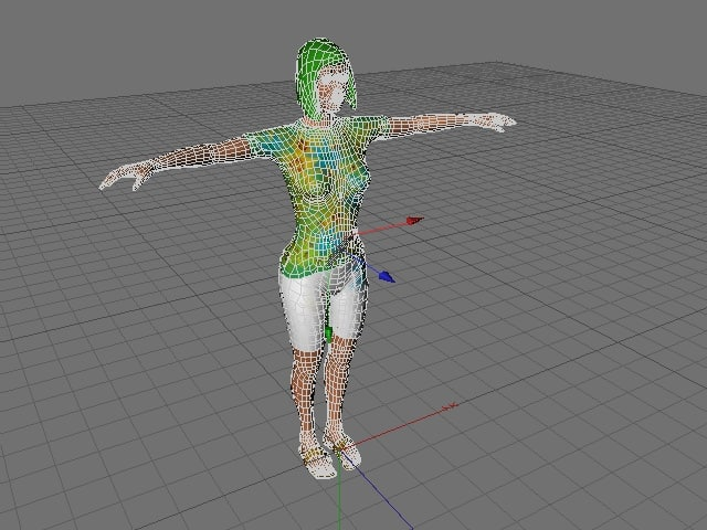 woman green hair 3d model