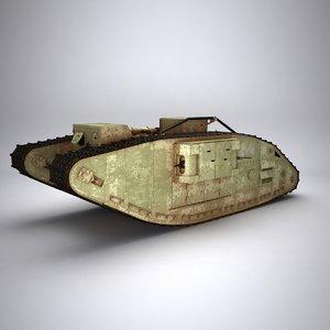 3d model of mark war tank