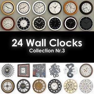 24 wall clocks 3ds