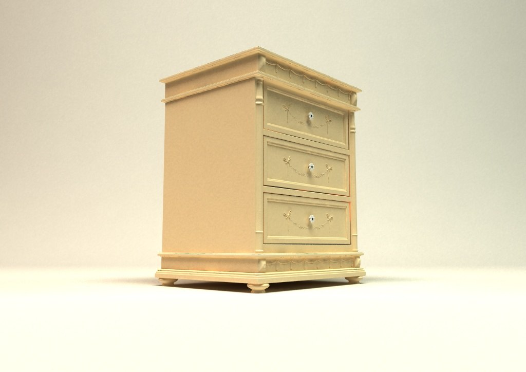 3d bedside drawers cabinet model