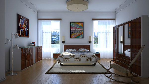 3d bedroom lighting model