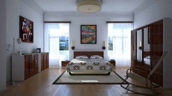 3d bedroom lighting model