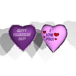 heart shaped balloons 3d model