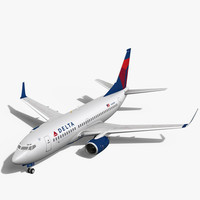 3d model delta airlines boeing 737-700w