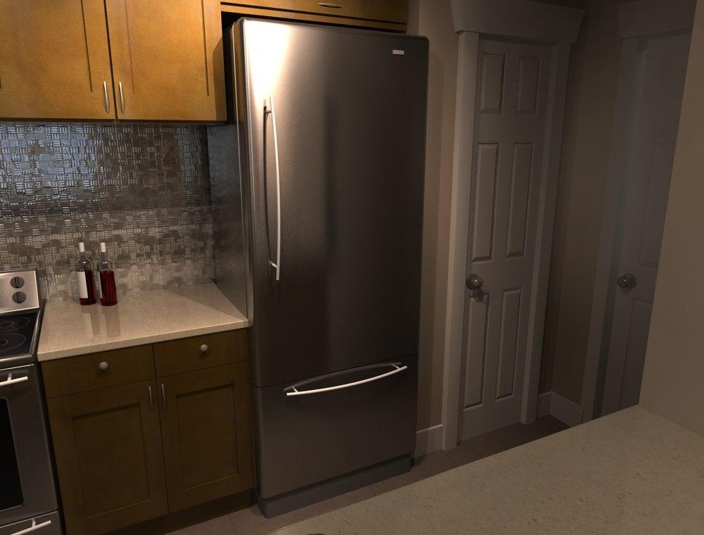 3d stainless fridge
