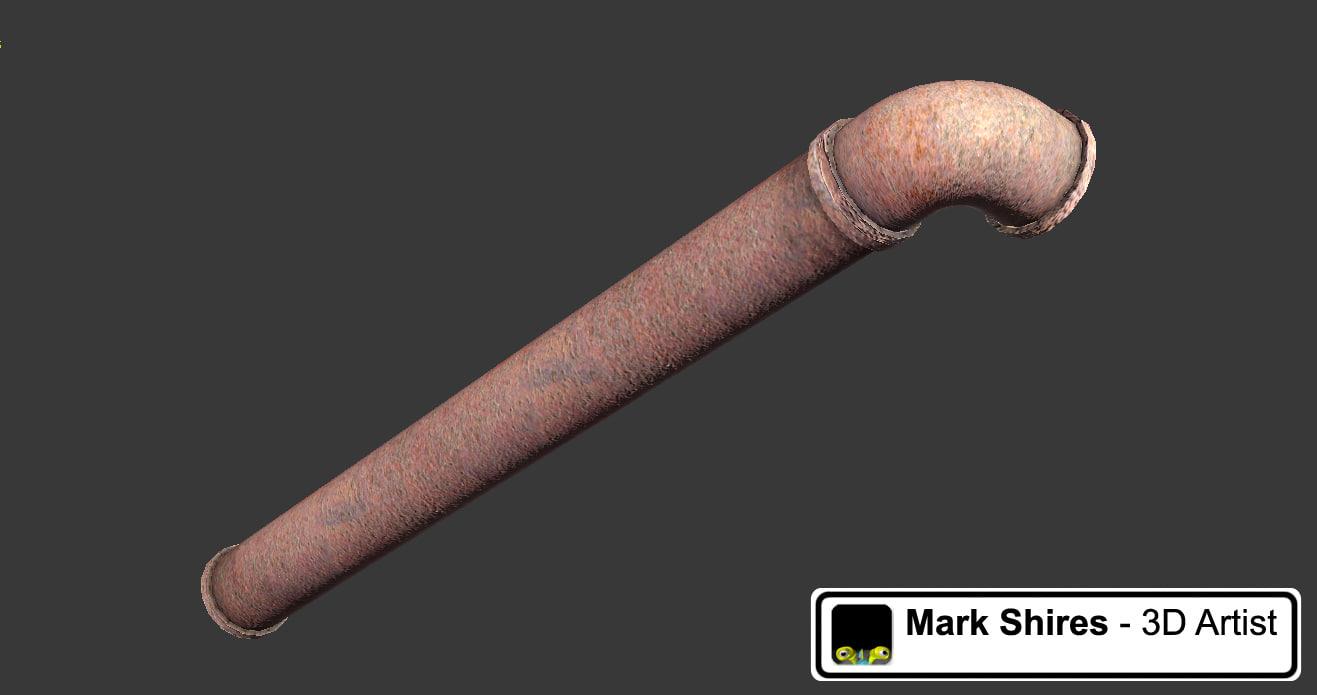 rusty metal pipe 3d model