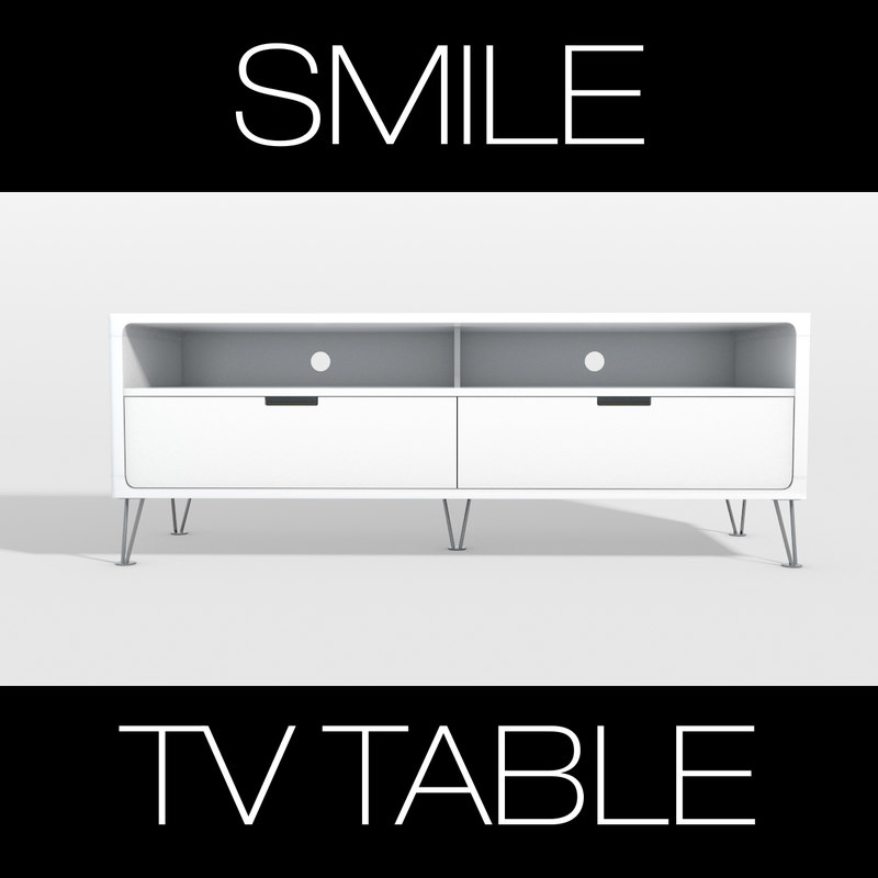 photoreal smile tv table 3d c4d