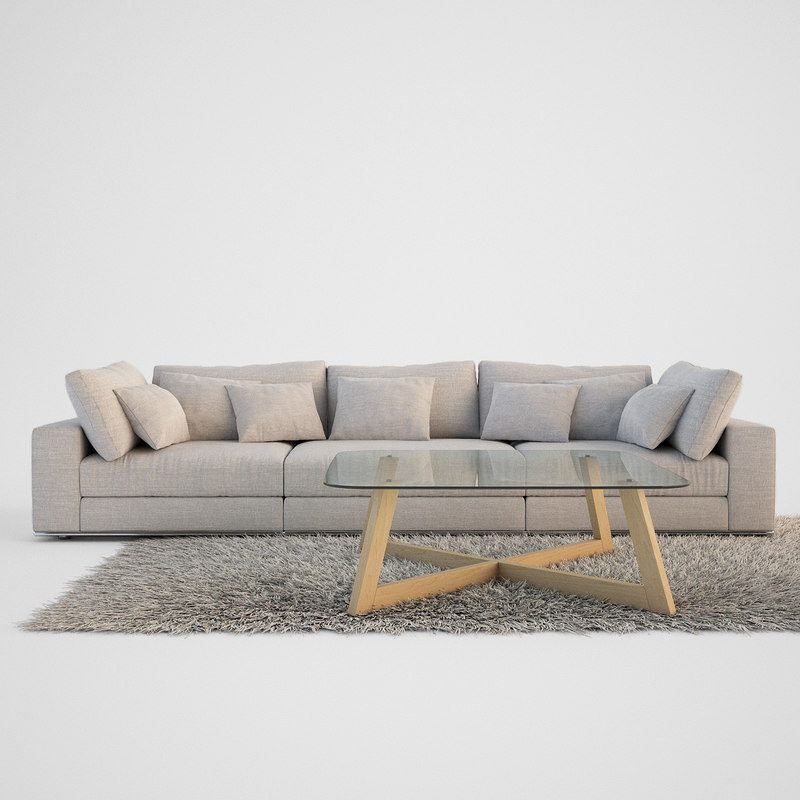 3d realistic sofa set coffe table model for Sofa 3d model
