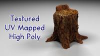 free realistic tree stump 3d model