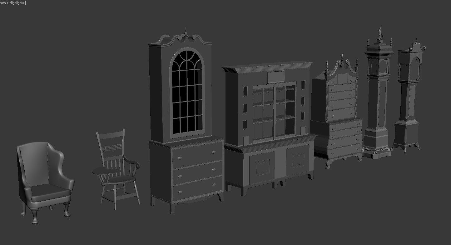 3d model furniture armoires chairs