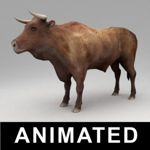 3d rigged bull animation walk