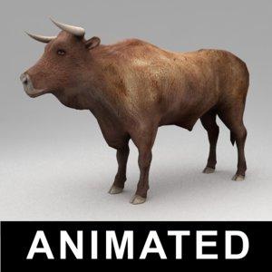 3d rigged bull animation walk