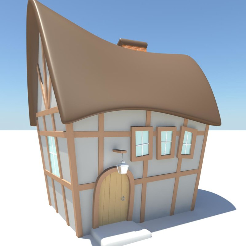 3d model of old english cottage