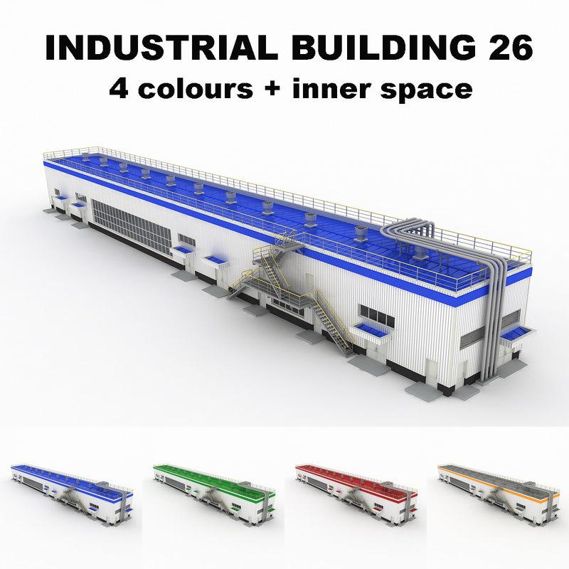 3d model of medium industrial building 26