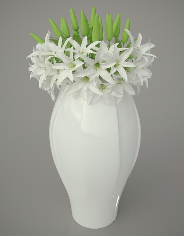 3dsmax porcelain vase lilies