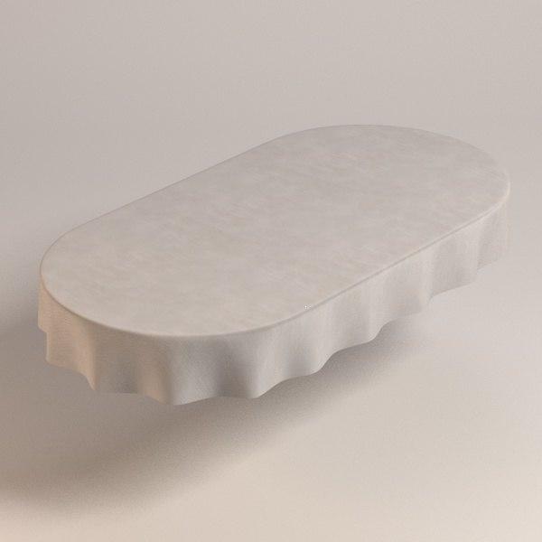 3d oval tablecloth model