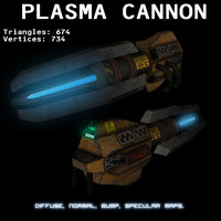 plasma cannon weapon 3d obj
