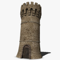 medieval castle tower 3d model