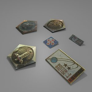 3d model of russian space pins